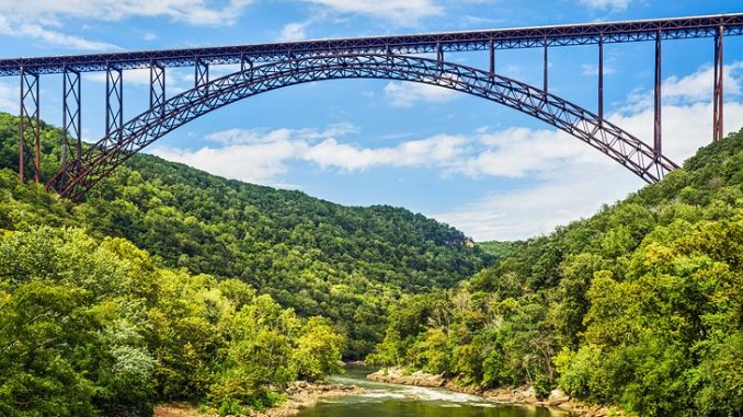 A Front View of Image Showing The New River Gorge Bridge
