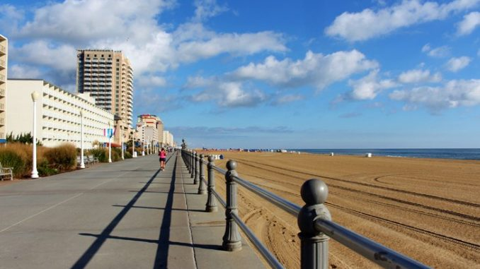 An Image of Northern Virginia's Oceanfront boardwalk lined with tall buildings